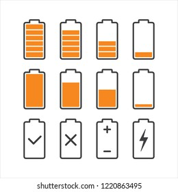 Black lined battery charge Indicator level icons in orange color, glyphs flat design vector eps 10 for interface elements, app ui ux web isolated on white background