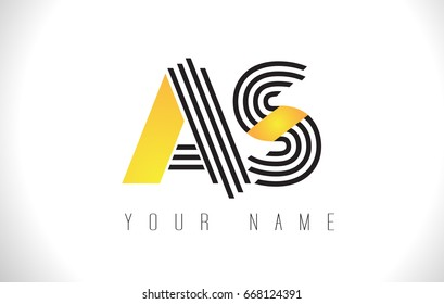 AS Black Lines Letter Logo. Creative Line Letters Design Vector Template.
