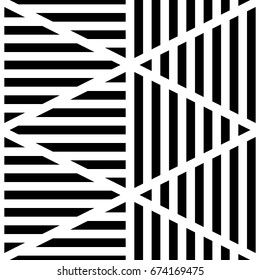Black lines on white background. Seamless surface pattern design with linear ornament. Strokes wallpaper. Hash stroke motif. Digital paper with stripes for textile print. Striped vector. Dashed image.