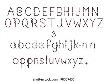 Black Lines and Red Dots Alphabet,uppercase and lowercase.