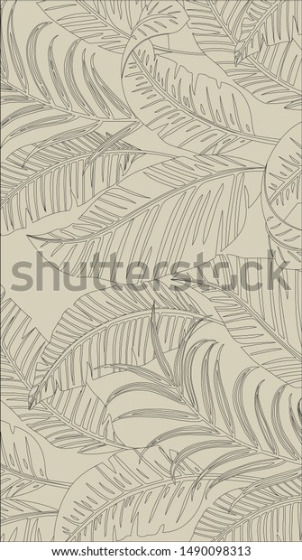 Black Lines Tropical Leaves Pattern Style Stock Vector Royalty Free 1490098313 Look no further than these tropical leaves. shutterstock