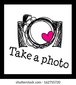 black link hand drawn doodle digital camera illustration with pink love heart for take a photo clipart