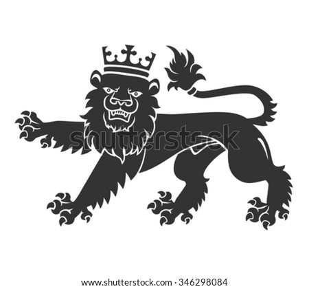 Black Lion Crown Heraldry Tattoo Design Stock Vector Royalty Free