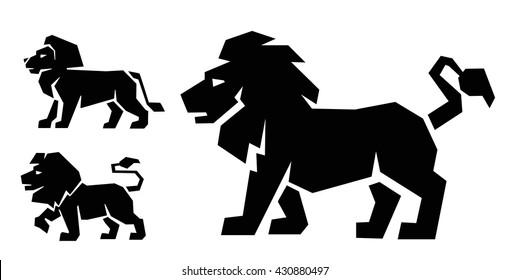 black Lion icon vector on white background