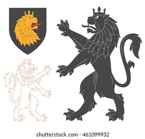 Black Lion Illustration For Heraldry Or Tattoo Design Isolated On White Background. Heraldic Symbols And Elements