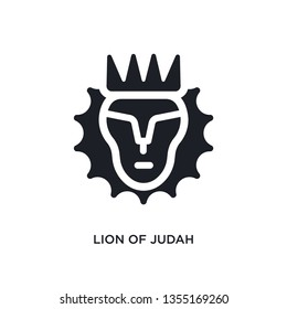 black lion of judah isolated vector icon. simple element illustration from religion concept vector icons. lion of judah editable logo symbol design on white background. can be use for web and mobile