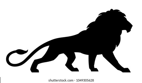 Black lion on a white background