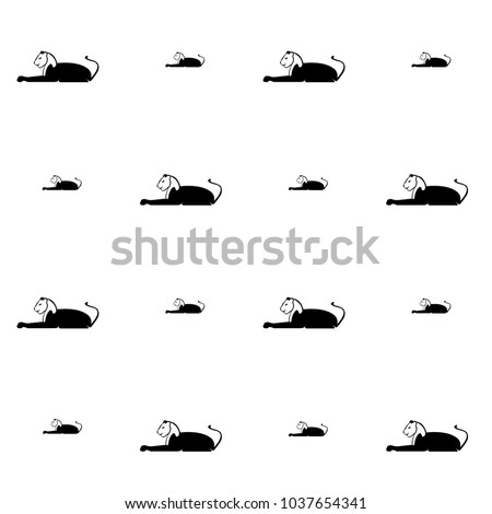 Black Lion Repeating Silhouette Pattern Isolated Stock Vector