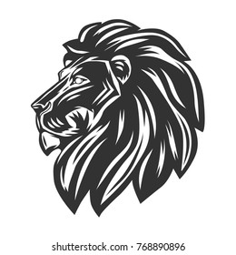 Black lion's head isolated on white background. Vector illustration.