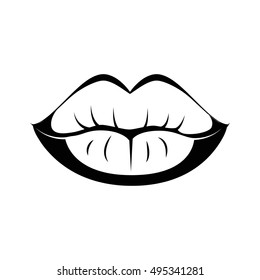 Black lips kiss lips vector lips close up white background. Vector illustration. Isolated On White