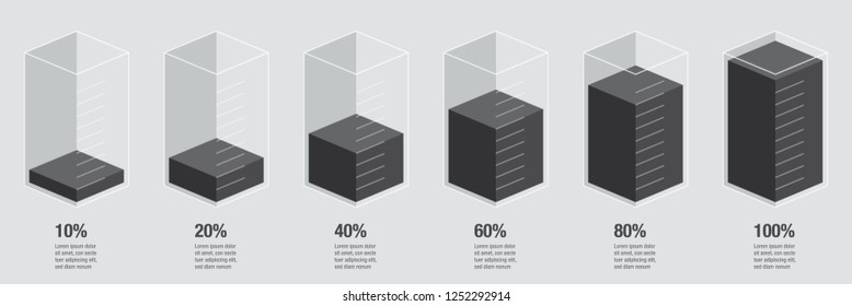 Black liquid histogram glass bars display. Flat design inforchart / infographic template with numbers & text, isolated on blank background, isometric cube illustration concept vector eps 10
