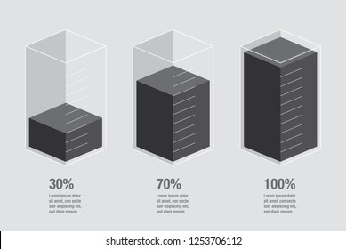 Black liquid histogram glass with measuring scales display. Flat design inforchart / infographic template with text, isolated on black background, isometric illustration concept vector eps 10