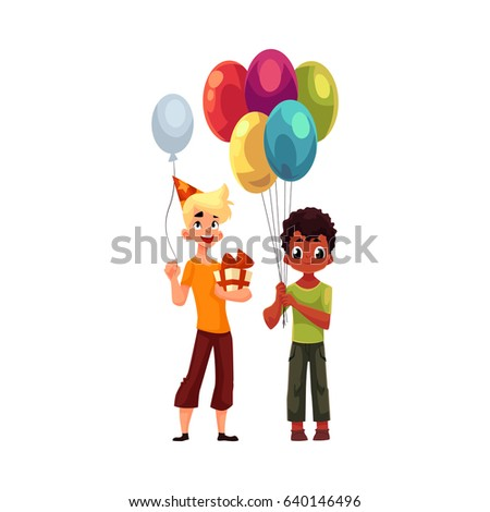 Black Little Boy Balloons Caucasian Teenager Stock Vector Royalty