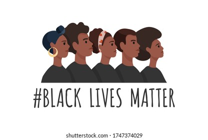 Black Lives Matter. African American men and woman in black t-shirts stand one by one. Tolerance and no racism concept. Protest Banner about Human Right of Black People. Cartoon vector illustration. - Shutterstock ID 1747374029