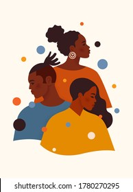 Black Lives Matter. African American men and woman in colorful clothes stand one by one. Tolerance and no racism concept. Protest Banner about Human Right of Black People. Cartoon vector illustration.