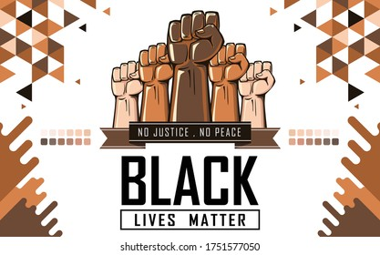 Black lives matter banner for protest against racial discrimination & police brutality. Raised fists of all skin colors in support.