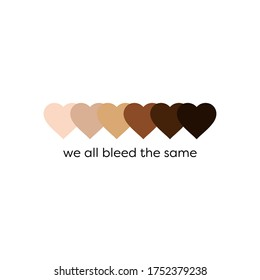 Black lives matter BLM anti racism racial equality skin tone hearts vector design for protest and activism against racial injustice and police brutality