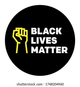 Black lives matter BLM protest activism fist illustration logo stamp badge sign. vector graphic with raised fist icon and typography.