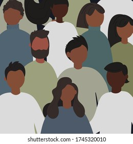 Black Lives Matter concept. Seamless pattern with young afro american people. Idea of demonstration for racial equality. Flat vector illustration