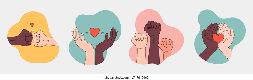 Black lives matter hand drawn collection. Hashtag blm stylized set. Black and white hands together equalty concept. Campaign against racial discrimination of dark skin color. Vector Illustration.