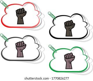 Black lives matter. Hand symbol for all black lives matter protest in USA to stop violence to black people. Message for protest action. Vector illustartion