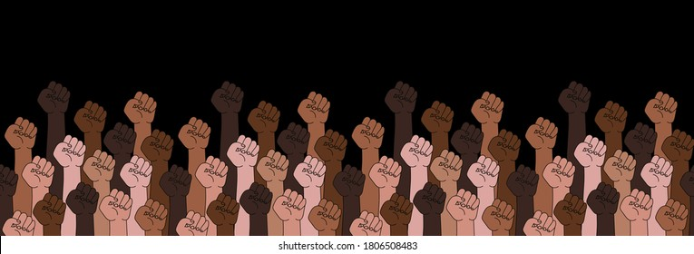 Black lives matter horizontal banner with protest fist in the air. BIPOC. Stop racism.Black lives matter graphic poster design template against racial discrimination dark background