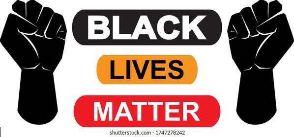 Black lives matter icon on white background, vector illustration. Black Lives Matter Illustration with Strong Fist