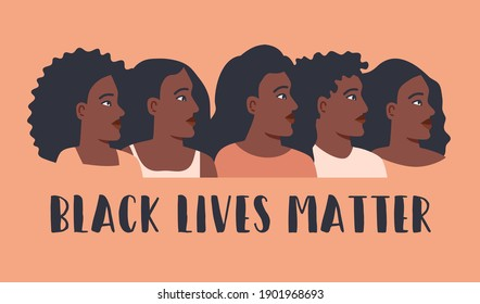Black lives matter poster with protesting multinational people. No racism concept in cartoon flat style isolated on white. Vector illustration. Black women and men on demonstration holding placard.