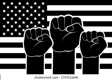 Black Lives Matter. Strong fist raised up the background of the American flag. Concept  black and white illustration protest against racism, discrimination, social inequality. Fight for equal rights