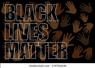 Black lives matter text on multiracial  hands on black background. Protests against racism in America. Modern vector in flat style. New movement.