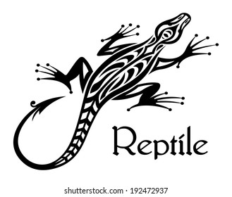 Black lizard silhouette in tribal style for tattoo or mascot design