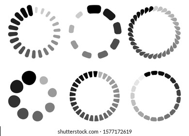 Black loading icons set isolated on white background. Circle vector load web interface icons. UI loading templates, buffering process progress bar circle rings, percent internet vector signs set.