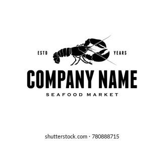 Black Lobster Food Vector Animal Logo Company Symbol for Restaurant
