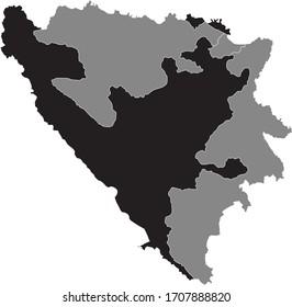Black Location Map of Bosnian Entity of Federation of Bosnia and Herzegovina (FBiH) within Grey Map of Bosnia and Herzegovina