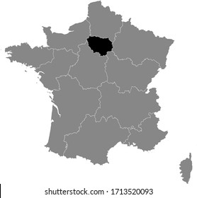 Black Location Map of French Île-de-France Region within Grey Map of France