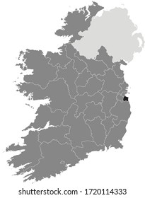 Black Location Map of Irish Council of Dun Laoghaire–Rathdown County within Grey Map of Ireland