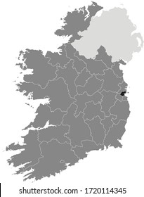Black Location Map of Irish Council of Dublin City within Grey Map of Ireland