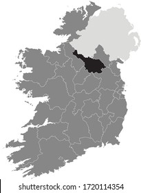 Black Location Map of Irish Council of Cavan County within Grey Map of Ireland