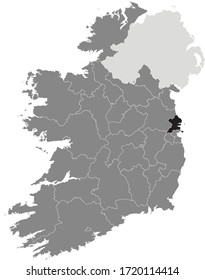 Black Location Map of Irish Council of Fingal County within Grey Map of Ireland