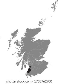 Black Location Map of Scottish Council Area of South Ayrshire within Grey Map of Scotland