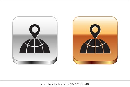 Black Location on the globe icon isolated on white background. World or Earth sign. Silver-gold square button. Vector Illustration