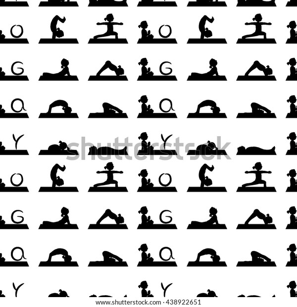 Black Logo Asana Yoga People Black Stock Vector (Royalty