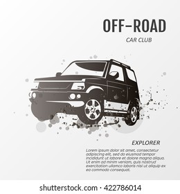 Black logo of crossover car for extreme sports design. Jeep car icon. Suv car logo. Logo of off-road car. Vector illustration.