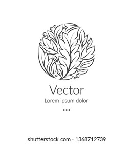Black logo with a linear leaf ornament in a circle shape. Can be used as monogram and emblem. Luxury vintage vector template with elegant elements. Great for wallpaper or background decoration.