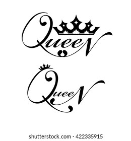 Black logo with royal crown and lettering isolated over white background.