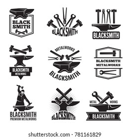 Black logos for blacksmith. Vintage labels set for workshop, forge and metal equipment hammer illustration
