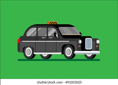 Black London taxi vector isolated, cab. Vector illustration Eps10 file.