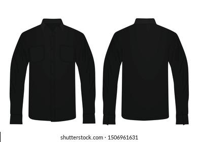 Black long sleeve shirt. vector illustration
