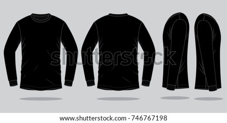 Black Long Sleeve T Shirt Template Stock Vector (Royalty Free ...
