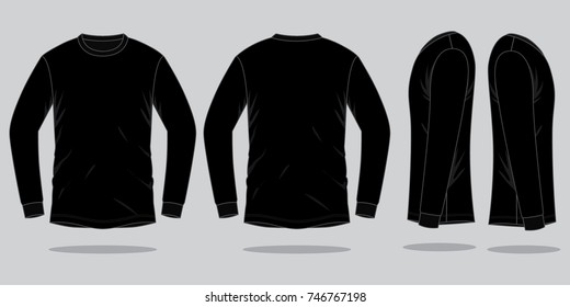 Black Long Sleeve T-shirt Vector For Template.Front,Back and Side Views.